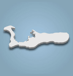 3d isometric map grand cayman is an island vector