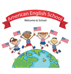 American children holding jumping flags vector