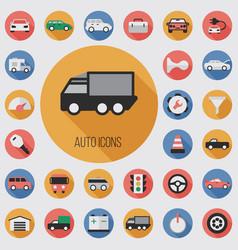 auto flat digital icon set vector image