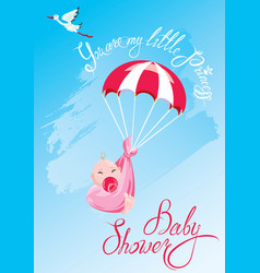 baby shower card invitation etc stork vector image