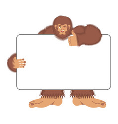 Bigfoot holding banner blank yeti and white blank vector
