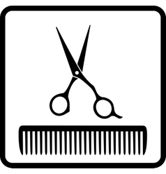 black icon with scissors and comb vector image