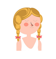 Blonde girl with two braids and closed eyes vector