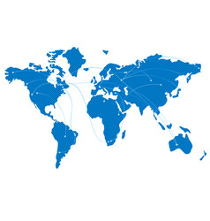 Blue map of the world with flight trajectories vector