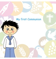 Boy first communion invitation vector