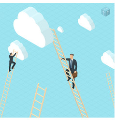 businessmen ladder climbing to clouds vector image