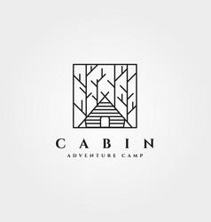 Cabin forest logo symbol minimalist line art vector