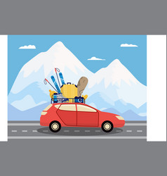 Car loaded with winter sport equipment in vector