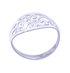 Carved elegant platinum white golden or silver vector