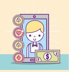 Casino croupier male smartphone banknote vector
