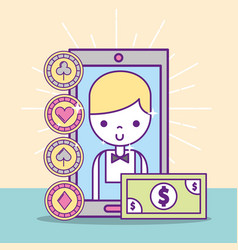 casino croupier male smartphone banknote vector image