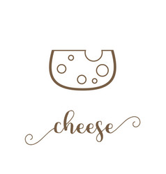 Cheese icon and calligraphic hand lettering vector