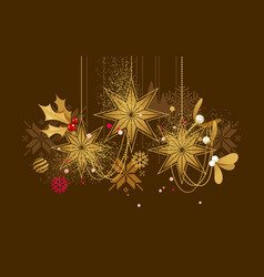 christmas golden hanging decorations vector image