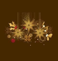 Christmas golden hanging decorations vector