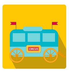 Circus trailer wagon icon flat style with long vector