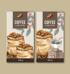 Coffee packaging bag design with branch leaves vector