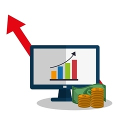 Computer profit and money design vector