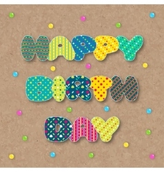Congratulations patchwork on the cork background vector