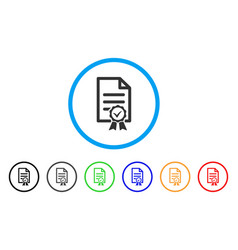Contract document rounded icon vector
