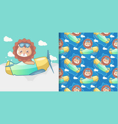 cute lion with a plane seamless pattern and card vector image