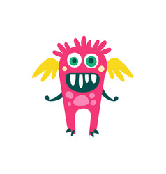 cute pink cartoon monster with wings fabulous vector image