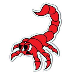 Cute red scorpion sticker vector