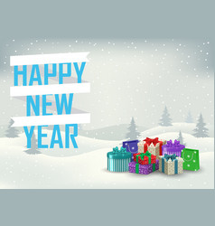 Decorative inscription of a happy new year with vector