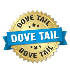 Dove tail round isolated gold badge vector