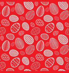 easter egg seamless pattern red white color vector image