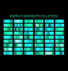 Emerald glossy gradient metal foil texture color vector