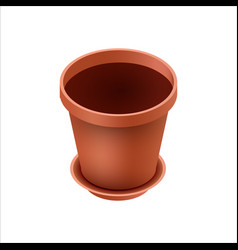 Empty ceramic brown flowerpots for cultivation of vector