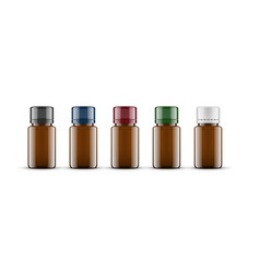 Essential oil brown glass bottle cosmetic flask vector