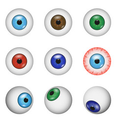 Eye ball anatomy mockup set realistic style vector