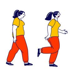Fatty female character in sportswear start weight vector