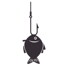fish icon fishing hook isolated vector image