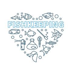 Fishkeeping minimal concept in vector