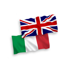 Flags italy and great britain on a white vector