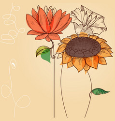 floral background sunflower and other abstract vector image