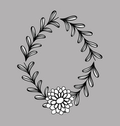 Flower with petals and branches with leaves vector