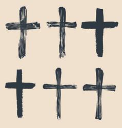 Grunge religious baptism christian crosses vector
