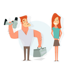 handyman to call a repairman girl and worker vector image