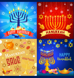 Hanukkah banner set cartoon style vector