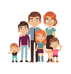 happy big family together father and mother vector image