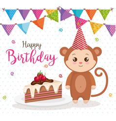 Happy birthday card with monkey vector