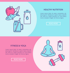 healthy lifestyle concept flyers template in line vector image