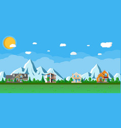 houses in the mountains among the trees vector image