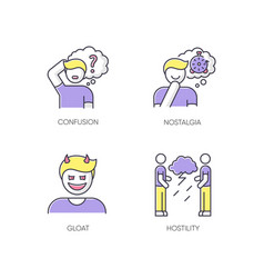 Human attitude rgb color icons set vector