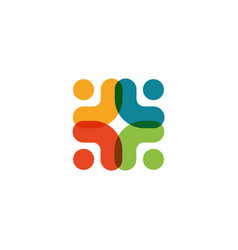 Human logo mutual aid icon people together vector