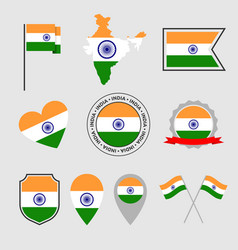 india flag icons set symbols flag of vector image