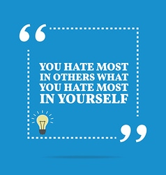 Inspirational motivational quote You hate most in vector image